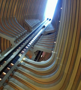 The view looking up from the atrium level of the Marriot Marquis.