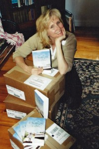 Me, ten years ago in the summer of 2004, when the first copies of Why the Sky is Blue arrived on my doorstep.